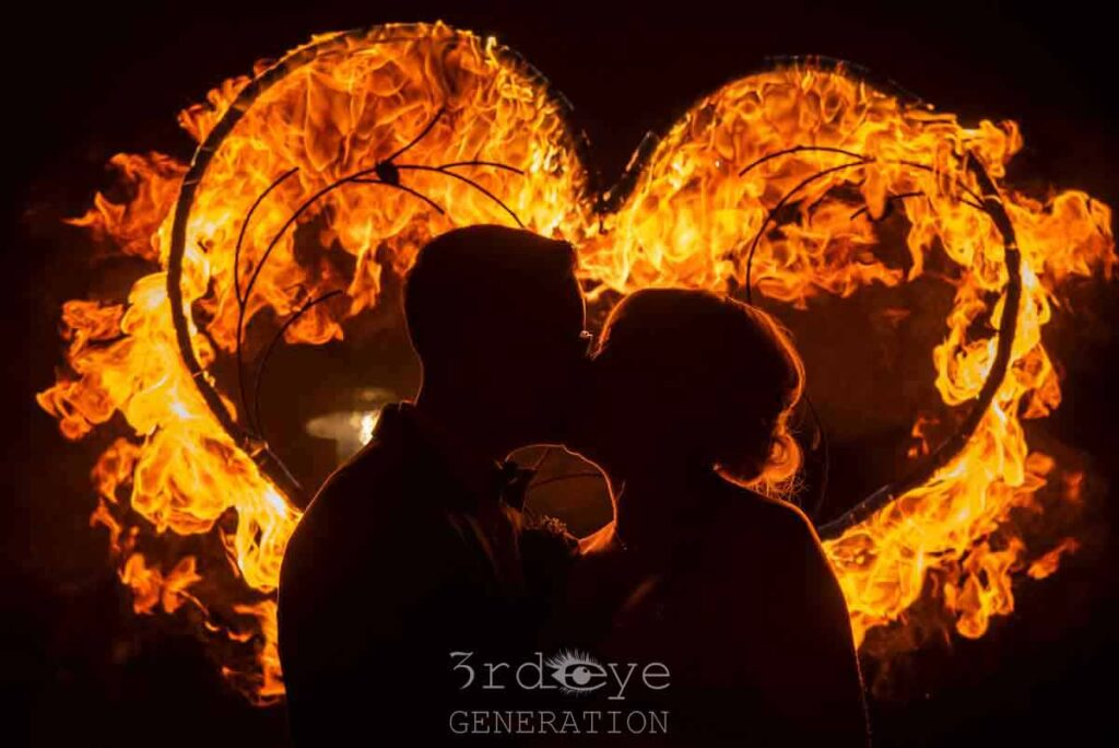 Bridal couple after fire show in Leipzig