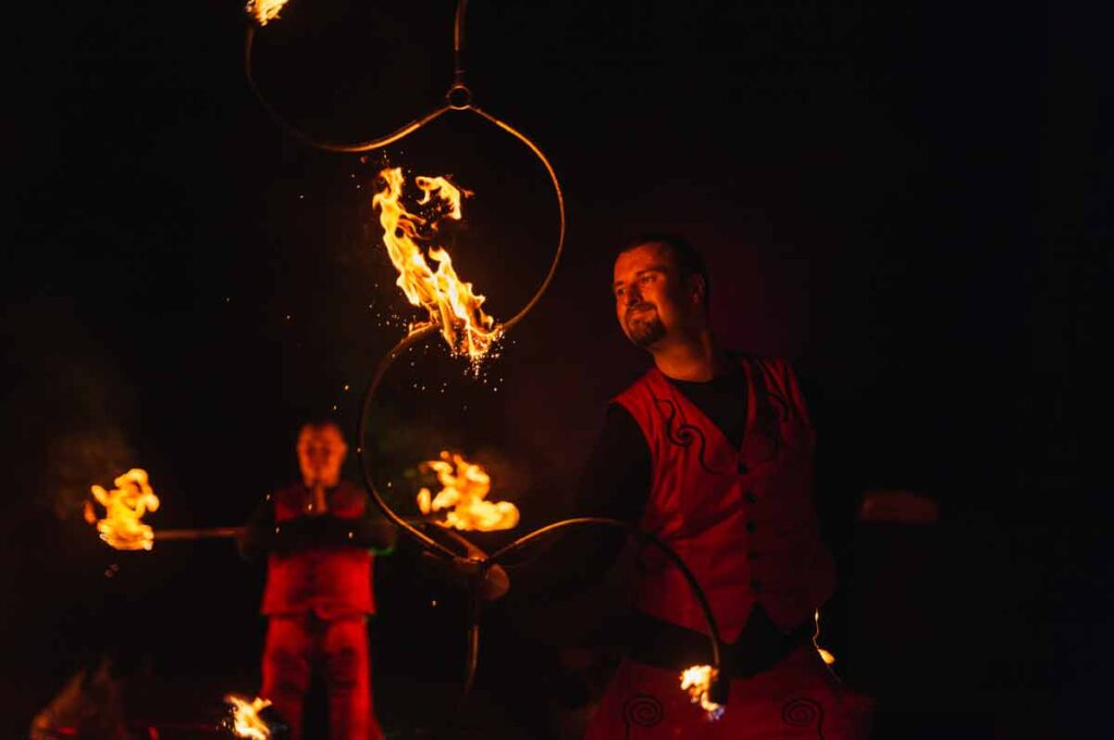 two fireartists show some hot fire shows